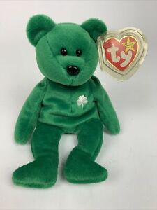 TY Beanie Baby Erin Green Bear Mint Condition Tag Spacing Errors/Typos Red Star