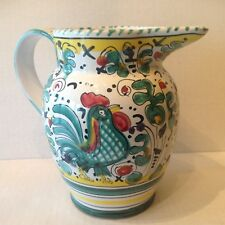 Italian Deruta Pottery Pitcher/Carafe Galletto Hand painted Green Signed