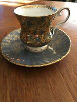 Elizabethan Fine Bone China Tea Cup Saucer Gold Gray Ornate Small Collectible