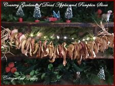 Primitive Country Christmas Garland or Swag Dried Apple & Pumpkin Slices Raffiah
