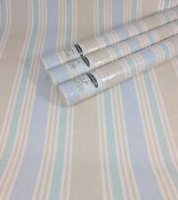 Gramercy Wallpaper LIGHT Beige Sand Blue Green  Vertical Thick Stripe 3 Roll Lot