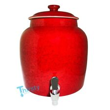 Marble Red Water Crock Dispenser Porcelain Ceramic Pot w/ Lid Faucet Spigot New