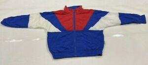 Vintage 90's soft laundered polyester/nylon  Full Zip Track Jacket Size youth L