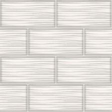 Kitchen Bathroom Glitter Tiles - Holden Decor Wave Tile White Wallpaper 89320