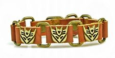 Brown Leather Transformers Decepticon Cuff Bracelet Brushed Goldtone Buckle NEW