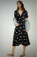 Gap Midi Dress Navy Blue Floral Print Size 10 Button Front Lined New NWT V Neck