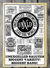 VINTAGE FIRECRACKER POSTER REPRINT UNEXCELLED FIREWORKS M80'S, SALUTES
