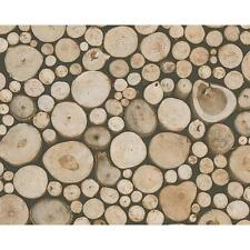 NEW AS CREATION WOOD LOGS PATTERN TREE CABIN TEXTURED NON WOVEN WALLPAPER 958361