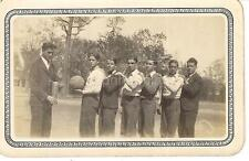 Coach Man Holds Trophy Of Winning Boys Male Basketball Team 1931 Vintage Photo