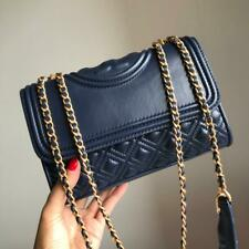 Authentic Tory Burch Fleming Small Convertible Leather Shoulder Bag Navy Blue