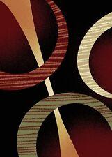 "Black Circles Rings Modern 5x8 Area Rug Contemporary Carpet - Actual 5'2""x7'4"""