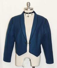 BLUE ~ Boiled WOOL German Women Winter Fitted Riding Dirndl Dress JACKET 12 M