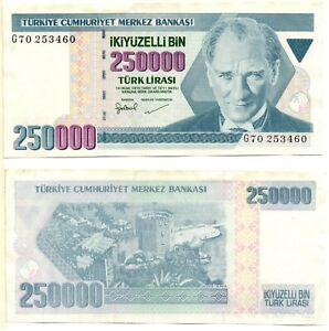TURKEY 250,000 Lira (1998) Pick 211, Extra Fine+  *RARE*