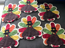Vintage Cloth Thanksgiving Turkey Placements 6 ea.