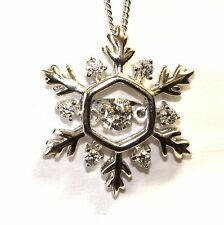 """NEW Sterling Silver 20"""" necklace CZ Cubic zirconia 3/4"""" snowflake Pendant 4.2g"""