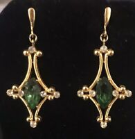 Trifari Vintage Dangle Drop Green Faux Emerald Gold Tone Rhinestone Earrings