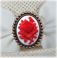 Hatpin With Red Rose On White Cameo - 8 Inch Brass Finish