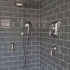 Sample 10 x 20 Gloss Dark Grey Brick Metro Ceramic Wall Tiles (ONE SAMPLE PER