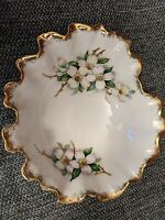 Vintage Porcelain Ruffled Dogwood Flowers Candy Dish Bowl w/ Gold Trim NW-DW-51
