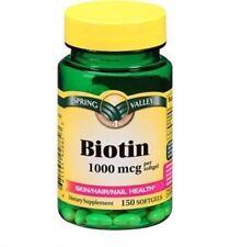 Spring Valley Biotin 1000mcg 150 Softgels Health Supplement Skin,Hair, & Nails
