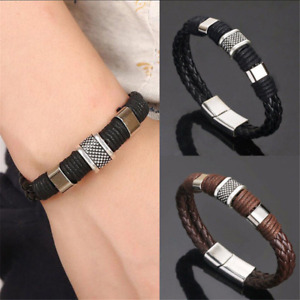 Fashion Men Women Leather Titanium Steel Magnetic Braided Clasp Bracelet Bangle