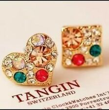 Stunning Gold Plated Rhinestone Coloured  Square Heart Earrings Full of Crystals