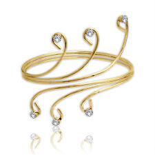 Spargz Gold Plated With AD Stone Spiral Upper Arm Cuff BraceletS AIAB_002