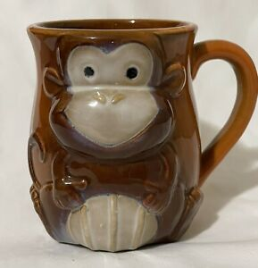 Monkey Coffee Mug Cup With Handle Relief Sculpture