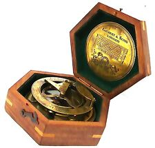 Gilbert Solid Brass Decorative Sundial Compass with Rose Wood Box