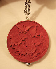 Lovely Etch Flower & Butterflies Sculpted Red Cinnabar Silvertn Pendant Necklace