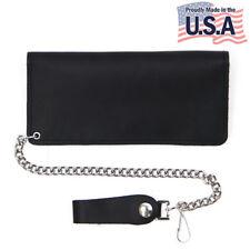 Bi-fold 8 inch Top Grain Leather Trucker Wallet Black Biker Wallet