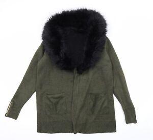 River Island Womens Green  Knit Cardigan Jumper Size 8  - Faux fur Collar