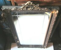 "Antique Art Deco Etched Mirror Gold Gilt Gesso~15"" x 29"" Frame ~12"" x 24"" mirror"