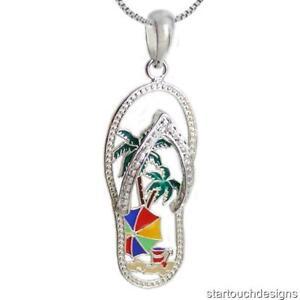 New .925 Sterling Silver Flip Flop Pendant Necklace