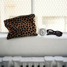 Leopard Faux Pony Horse Hair Fur Envelope Clutch Purse Cosmetic Bag Handbag Tan
