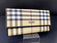 Burberry Nova Check Beige Canbas Leather Long Bifold Wallet Purse Italy M-1010