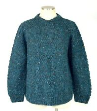 Vtg Connemara Wool Cable Knit Sweater Chunky Speckled Teal Green Jumper Womens M