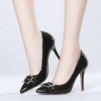 Womens Slim High Heels Pointed Toe Pumps Patent Leather Slip On Metal Prom Shoes