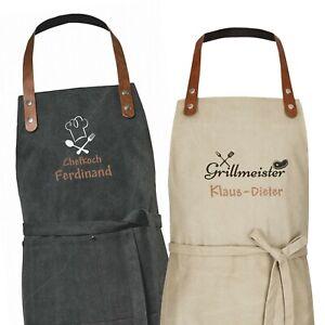 Wolimbo Canvas Kochschürze mit Namen und Motiv bestickt Grillschürze Backschürze
