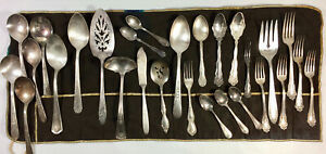 ANTIQUE LOT 28 SILVERPLATE UTENSILS SERVING WARE, SOUP SPOONS, WM ROGERS ETC