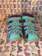 Cat & Jack Girls size 5 Sands Fisherman Sport Aqua Purple Shoes Hook Loop (#8