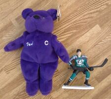 Paul Kariya Anaheim Mighty Ducks Beanie Bear & Mini Figure ~ NHL Hockey