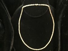 VTG Italy 14k Yellow Gold 16.5 Thick Rope Twist Necklace Chain 4.6g c Safety