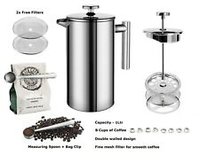 FRENCH PRESS CAFETIERE + FREE Spoon + Clip + 2 Filters ¦ Coffee Maker 1L Steel