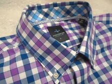 Tailorbyrd 100% Cotton Purple & Blue Gingham Check Sport Shirt NWT Large $99.50