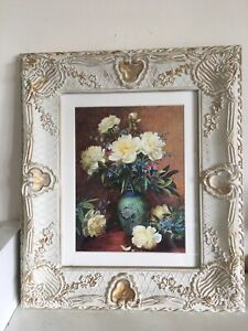 """Shabby Chic/country Style Floral Picture In Rustic/cream Gold Frame 14.5x12.5"""""""