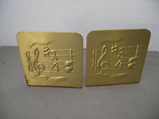 Vintage Brass  Bookends with Music Scale Unique