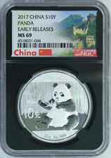 2017 China Silver Panda 30 g 10 Yuan / Ngc Ms69 / Early Releases Black Label