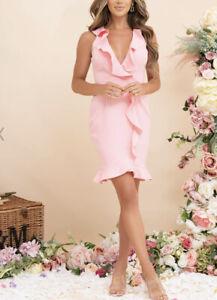 Pink Boutique Women's Pink Frill Bodycon Midi Dress BNWT 8