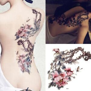 New Temporary Tattoo Large Plum Blossom Flower Body Art Fake Waterproof